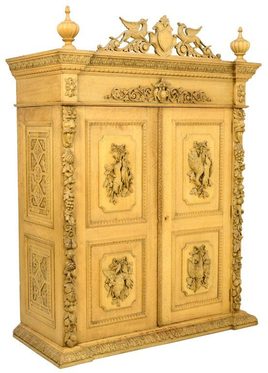 A BAROQUE REVIVAL STYLE ARMOIRE WITH FRUIT AND HUNT THEME  Furniture Antiqu -> Armoire Style Baroque