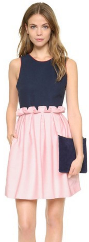 Navy and Pink Open-Back Frill Dress