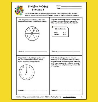 FREE Math Problem Solving Assessment Pack - Includes pretests and posttests for grades 2 through 6