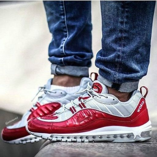 air max 98 supreme red on feet