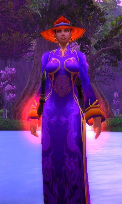 Purple dress, red hat.  Kathrynlucas, my rogue on World of Warcraft, and a loyal member of the Red Hat Society.