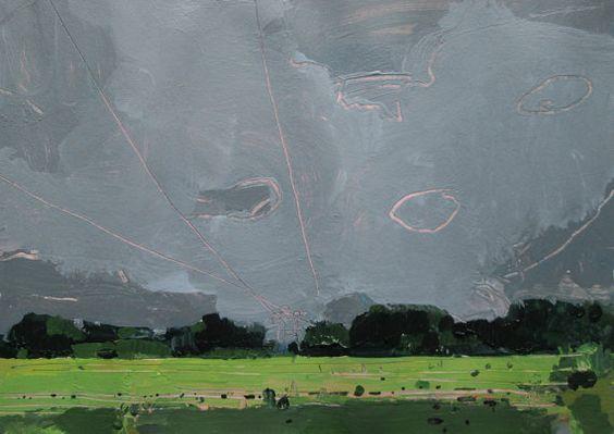 Pintura del paisaje Original corredor hidro, 28 de junio, en el papel, Stooshinoff