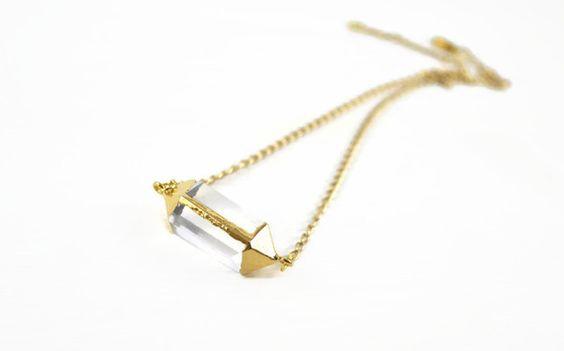 Bergkristall - Quarzzylinder - vergoldeter Bergkristall - ein Designerstück von crystalandsage bei DaWanda