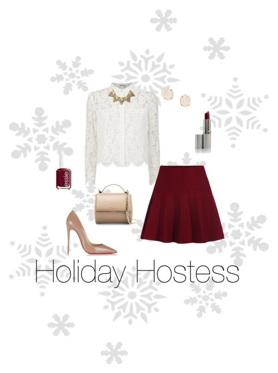 """""""Holiday Hostess"""" by mackenzie-morton on Polyvore featuring Chay, Christian Louboutin, Banana Republic, Kendra Scott, Givenchy and Essie"""