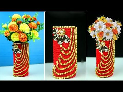 How To Make Flower Vase With Waste Material Waste Material Art