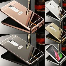 Luxury Metal Aluminum Frame Bumper Case + PC Mirror Back Cover Skin For LG Phone