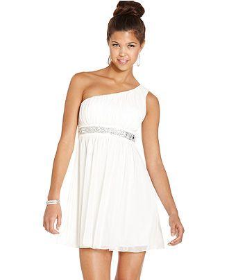 Trixxi Juniors Dress- Sleeveless Empire-Waist One-Shoulder ...