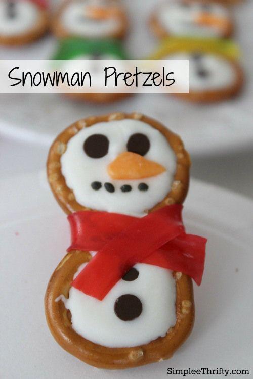 Snowman Pretzels Receta Golosinas de navidad, Niño y Fiestas de - cosas de navidad