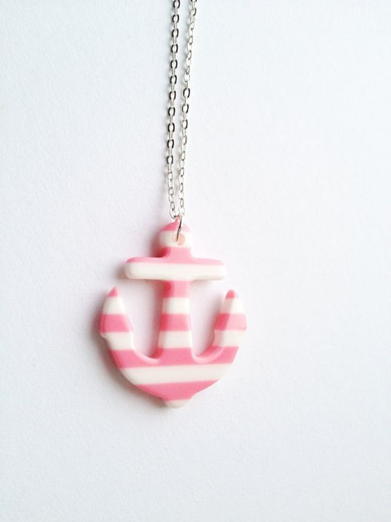 Happy Sailor Striped Anchor White Pink Necklace :) Happy Lovely Cute Kawaii Jewelry for Kids and Girls xoxo Love Factory