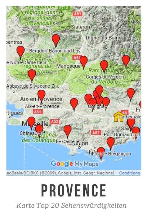 Karte Mit Sehenswurdigkeiten Der Provence Provence Urlaub