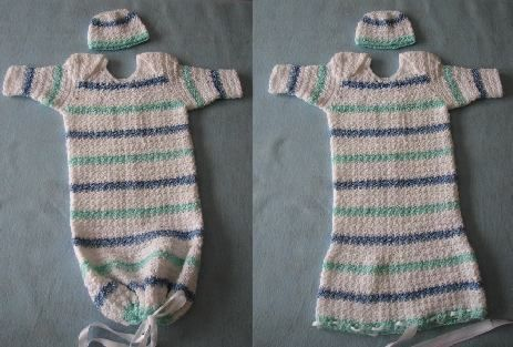 Stripes Sweet Pea or Infant Pajamas with Matching Hat