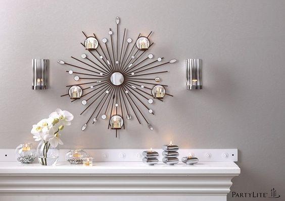 wandhalter sternenregen sternenf rmiger wandschmuck aus metall mit spiegelglas und. Black Bedroom Furniture Sets. Home Design Ideas