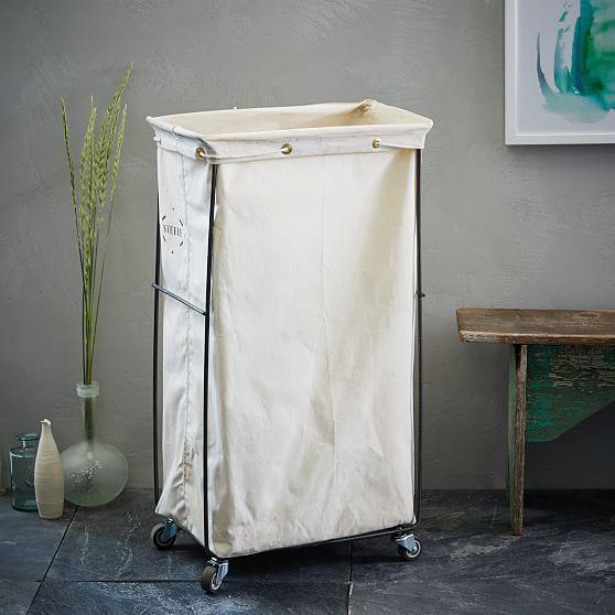 Steele Canvas Hamper White West Elm Laundry Baskets Laundry Storage Tall Basket Laundry Hamper Basket