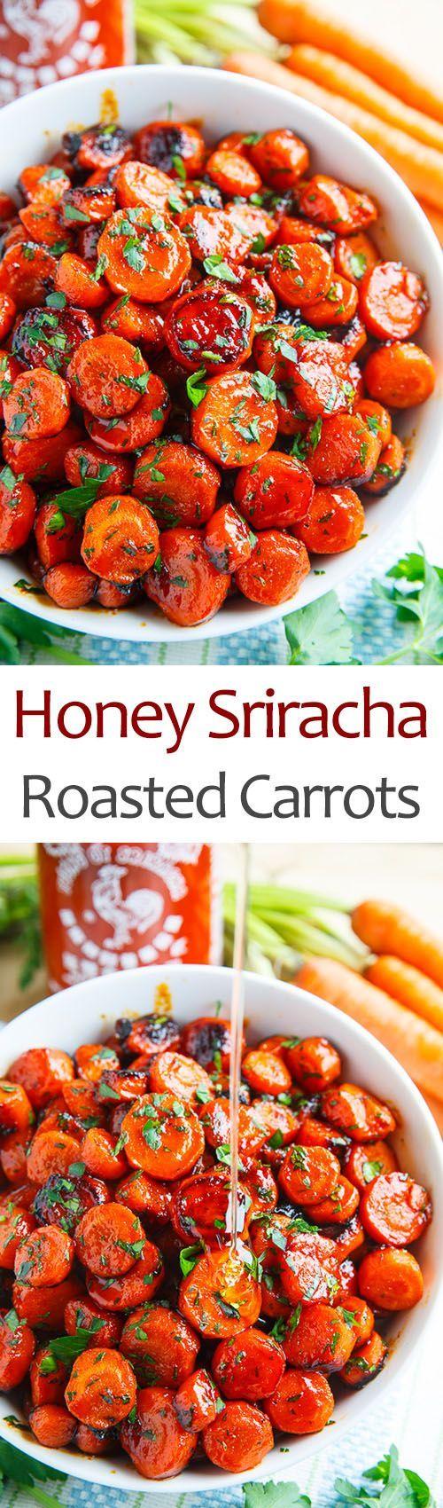 Honey Sriracha Roasted Carrots Vegetable Side Dish Recipe via Closet Cooking