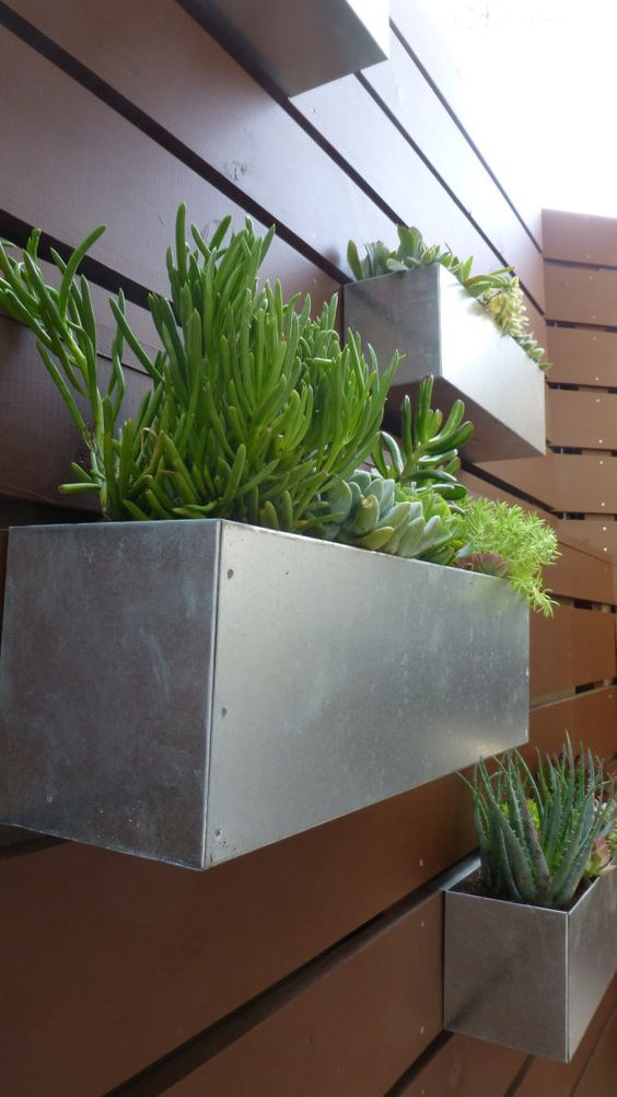 Metal Hanging Planter Box Horizontal Fence Planter Succulent Wall Garden Herbs Modern Mcm