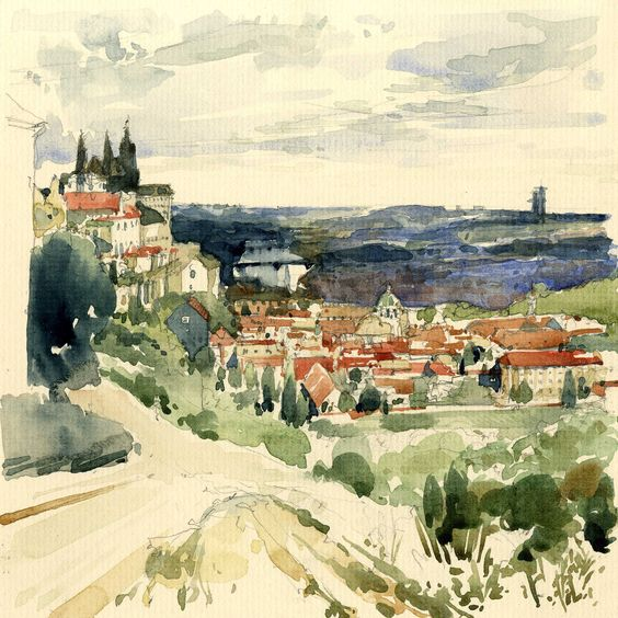 Watercolour Sketch - Hills above Prague
