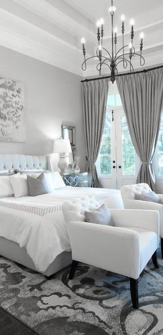 White and grey - Could NEVER have a white bedspread with puppies & kids....LOVE the back of the bed though!: