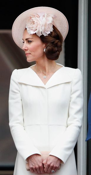 Catherine, Duchess of Cambridge during the Trooping the Colour, this year marking the Queen's 90th birthday at The Mall on June 11, 2016 in London, England.: