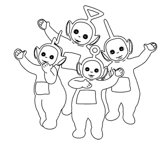 Teletubbies Coloring Books: Teletubbies Raised Hands Coloring Page