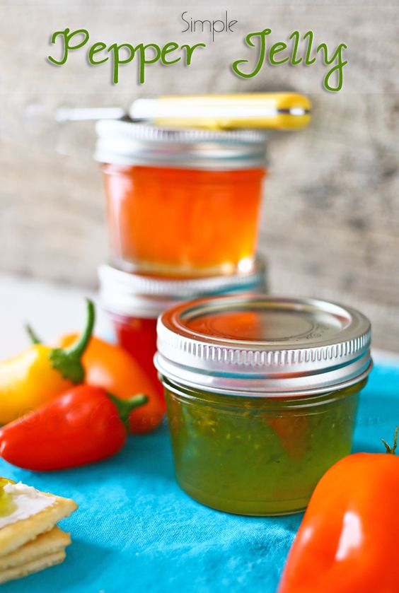 Simple Pepper Jelly: 1 bell pepper (red, green, yellow or orange- your choice) 2 sweet peppers (match the color to your bell pepper) 1/2 cup apple cider vinegar 2 cups granulated sugar 2 tbsp pectin 2 drops matching food color (optional).