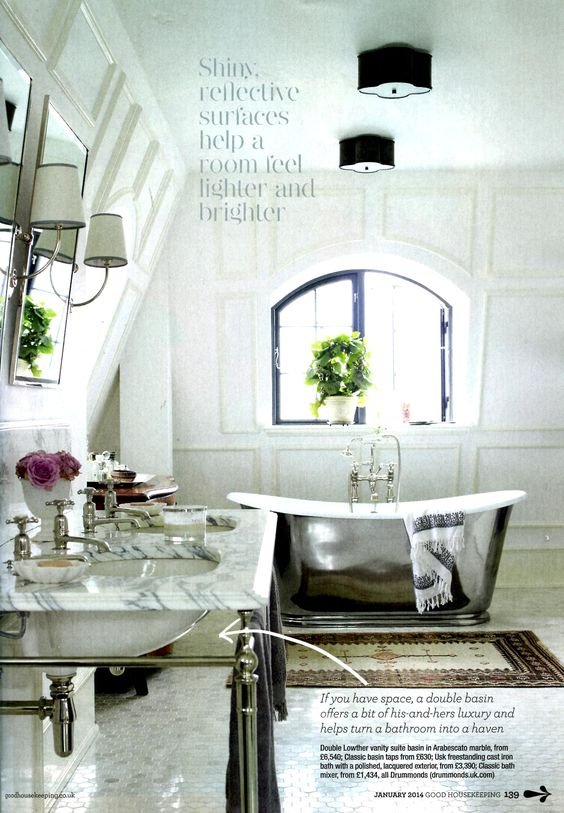 This glamorous bathroom features the Usk freestanding cast iron bath and Double Lowther vanity basin in Arabescato marble, available from Drummonds http://drummonds-uk.com Good Housekeeping January 2014