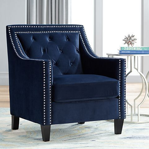 Tiffany Navy Blue Tufted Armchair Mylampsplus Lampsplus Chairs Seating Livingroom Tufteda Blue Living Room Decor Blue Accent Chairs Blue Occasional Chair