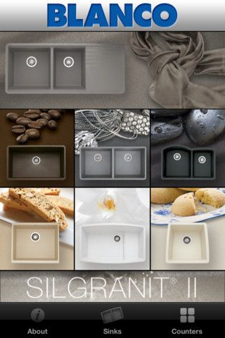 The blanco mobile color app allows users to coordinate for Silgranit countertops