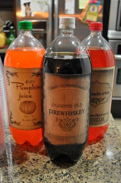 Pumpkin juice (orange soda), Ogden's Old Firewhiskey (root beer, Elf-made wine (any red-tinted soft drink)