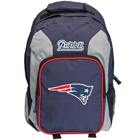 Haul your gear with style with this awesome team colors backpack from the New England Patriots, with an embroidered logo and felt applique team emblem on the back.  Height: 18 inches Width: 12 inches Depth: 8.5 inches