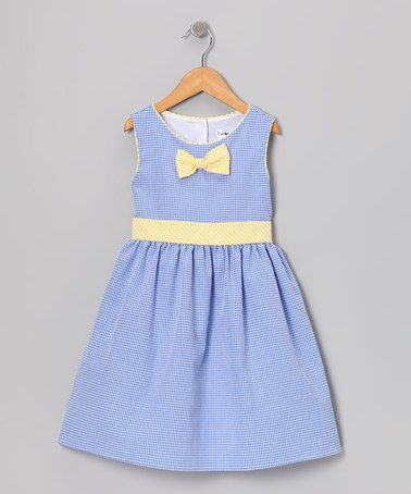 Take a look at this Blue &amp- Yellow Gingham Bow Dress - Toddler ...