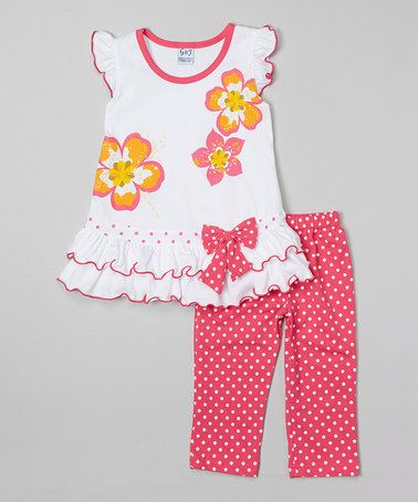 Fuchsia Angel-Sleeve Top & Capri Pants - Infant, Toddler & Girls by G&J Relations #zulily #zulilyfinds