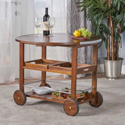 Cynthia Farmhouse Wooden Bar Cart Dark Oak Brown Christopher Knight Home Wood Bars Bar Cart Wooden Bar