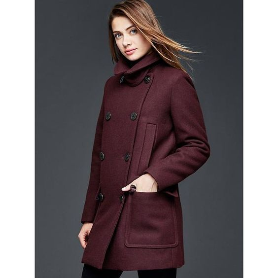 Gap Women Wool Peacoat ($198) ❤ liked on Polyvore featuring