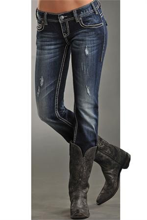 Rock and Roll Cowgirl Women's Embroidered Pocket Skinny Jean