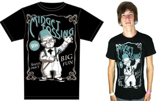 Midget Tossing on a Black guys slim fit shirt by Too Fast Clothing  - SALE