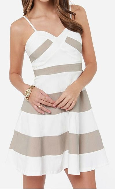 Beige and Ivory Color Block Dress