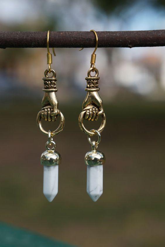 Antique Gold Hand Earrings // White Gemstone Point Pendulum // Good Luck // Dangle & Drop Earrings // Hamsa + Mano Fico + Figa + Amulet