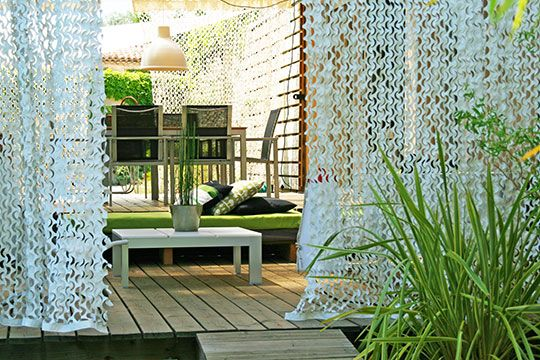 rideau camouflage pour terrasse inspiration jardin. Black Bedroom Furniture Sets. Home Design Ideas