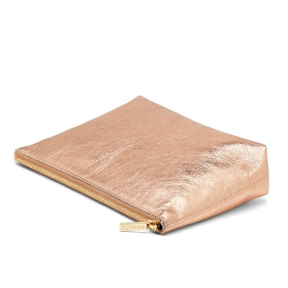 Leather Zipper Pouch Rose Gold