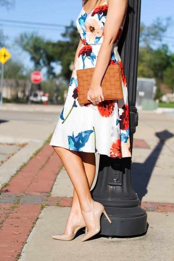 Get ready for summer with our sweetheart neckline floral print dress | Banana Republic