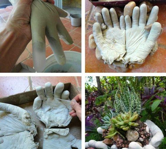 Für die Gartendeko brauchen Sie Gummihandschuhe Garten \/Balkon - gartenaccessoires selber machen