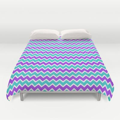 Teal and Purple Chevron Duvet Cover girls bedroom bedding decor #decampstudios
