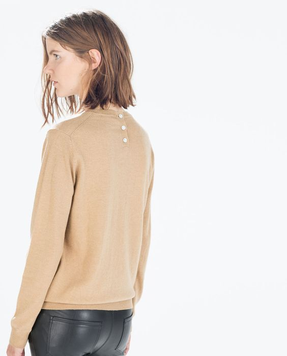 ZARA SWEATER WITH JEWEL BUTTONS ON BACK