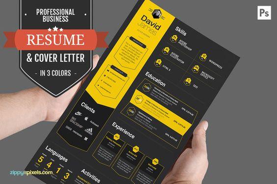 Professional Business Resume CV Set by ZippyPixels on - header for resume