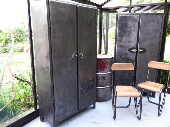 Meuble en m tal ann es 50 armoire de cuisine - Meuble cuisine en metal ...