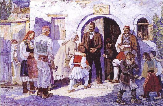 Shkolla e parë shqipe në Pogradec. Première école albanaise à Pogradec.
