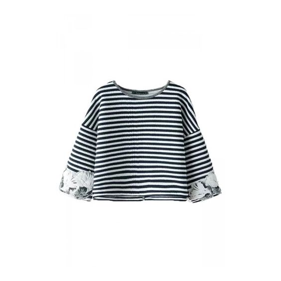 Navy Blue Ladies Classic Stripes Fashion Crew Neck Crop Top (€28) via Polyvore featuring tops, crew neck tops, crew neck crop top, stripe crop top, navy striped top and striped top