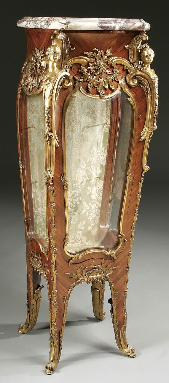 A very fine louis xv style vitrine stand by linke louis for Rococo furniture reproductions
