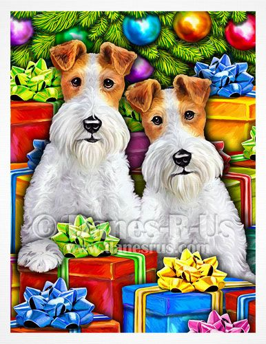 Wire Fox Terrier Open Gifts Christmas Cards from Danesrus. These Wire Fox Terriers just cannot wait any longer to tear into all the gifts. Those begging eyes say it all - Can we open them NOW?! An adorable Holiday scene sure to be a favorite card for all those on your card list who receive one.