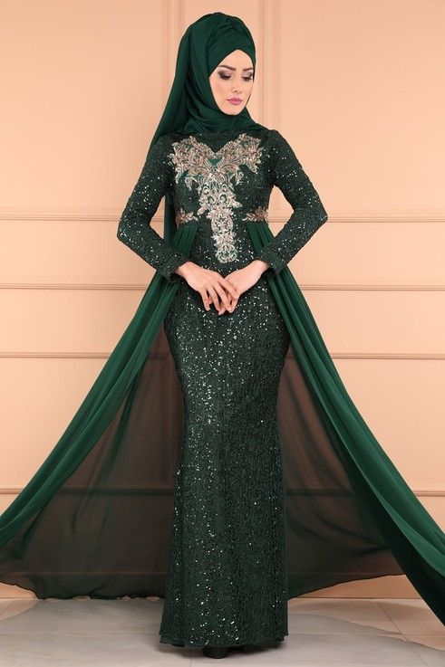Modaselvim Abiye Payetli Tesettur Abiye Pn2010 Zumrut Modest Dresses Fashion Formal Dresses Long